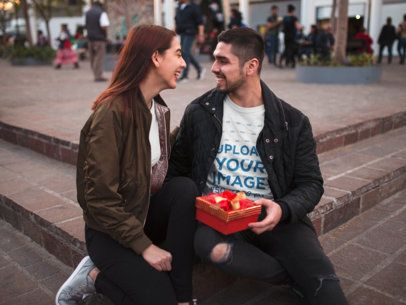 T-Shirt Mockup of a Man Celebrating Valentine's Day with His Girlfriend 19012