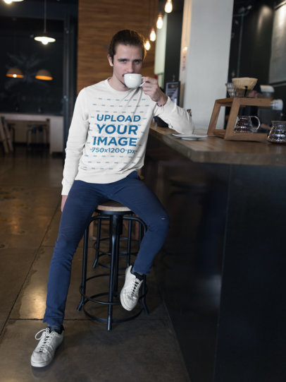 Crewneck Sweater Mockup of a Man Having a Coffee 18101