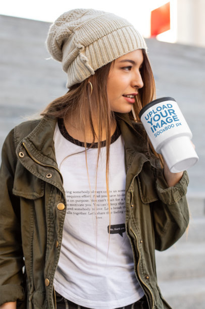Travel Mug Mockup of a Girl Drinking Her Coffee 24336