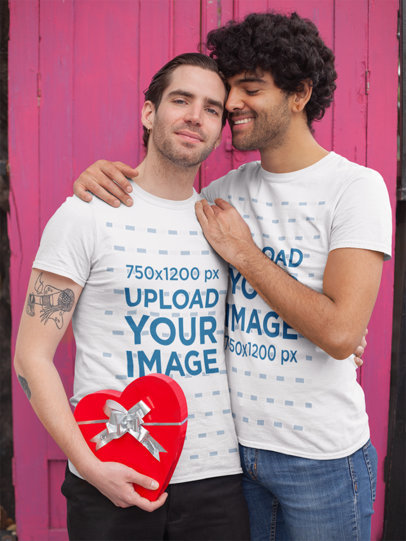 Mockup of a Cute LGBTQ Couple Embracing on Valentine's Day 25401