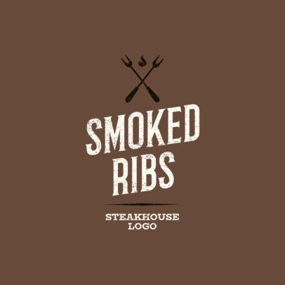 Smoked Ribs Restaurant Logo Maker with BBQ Clipart 1675d