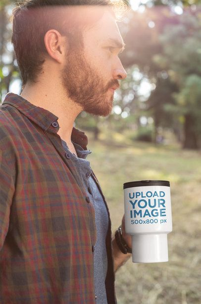 Travel Mug Mockup of a Man out in the Woods 24385