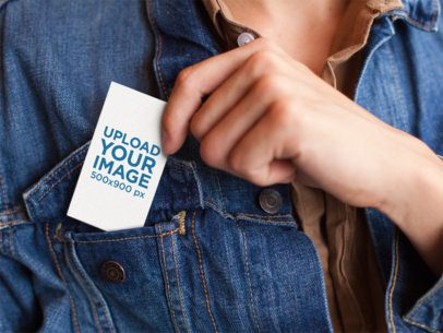Mockup of a Woman Placing a Business Card in her Jacket's Front Bag a6062