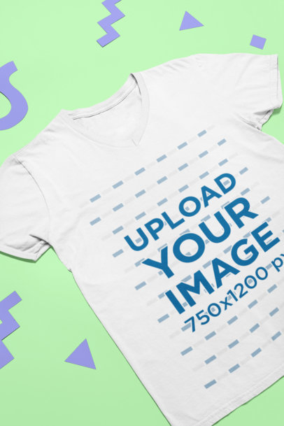 Mockup of a T-Shirt Lying Flat over Cut out Shapes 24963