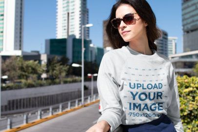 Sweater Mockup Featuring a Fashionable Woman in the City 18268