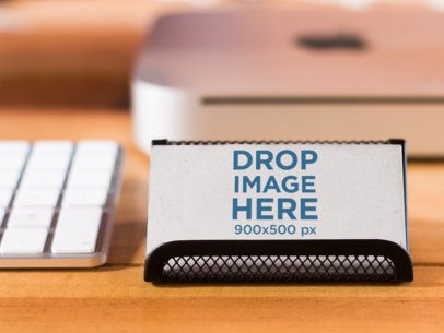 Business Card Mockup at a Creative Office Environment a6135