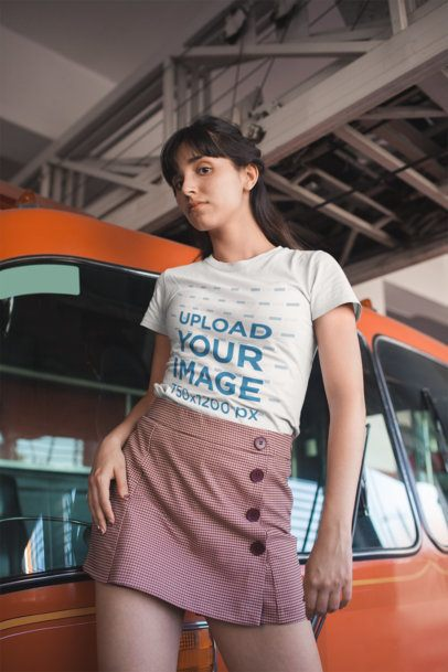 T-Shirt Mockup of a Girl Wearing a Skirt with Buttons 19625