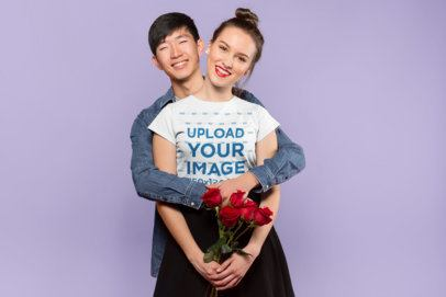T-Shirt Mockup of a Woman Hanging Out with Her Boyfriend on Valentine's Day 25417