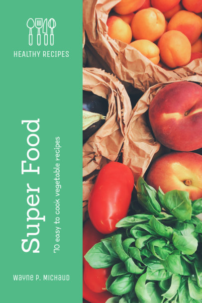 Book Cover Template for a Super Food Recipe Book 913d