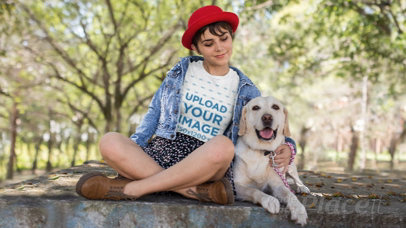 Parallax Video Mockup of a Girl Wearing a T-Shirt while Hugging her Dog at a Park 25618