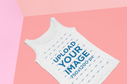 Mockup of a Heathered Tank Top Lying Flat over a Colorful Background 25184
