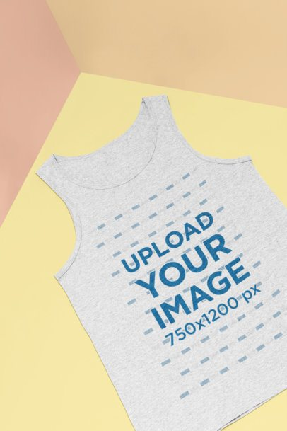 Mockup of a Heathered Tank Top Lying Flat 25186