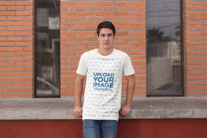 Mockup of a Young Man Wearing a T-Shirt in the City 25295