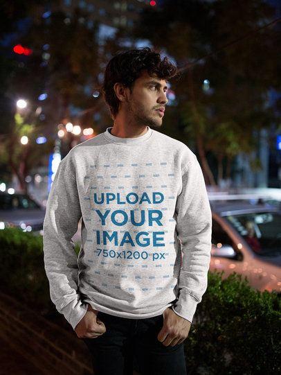 Mockup of a Man Wearing a Heather Sweatshirt on the Street 18189