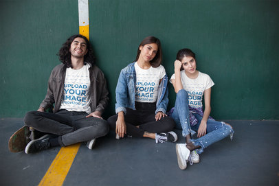 Tshirt Mockup of a Group of Three Friends at a Fronton Court 25231