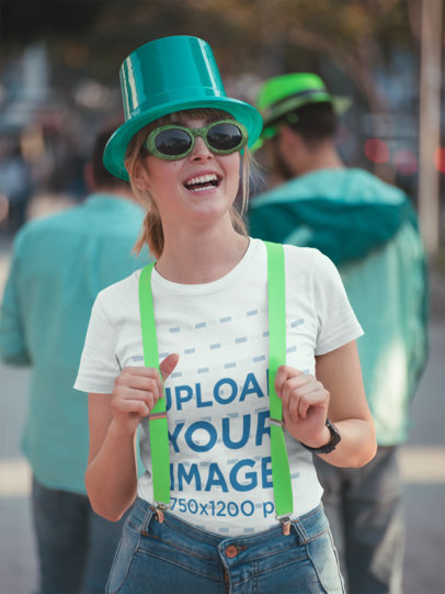 T-Shirt Mockup of a Woman Celebrating St. Patrick's Day 19561