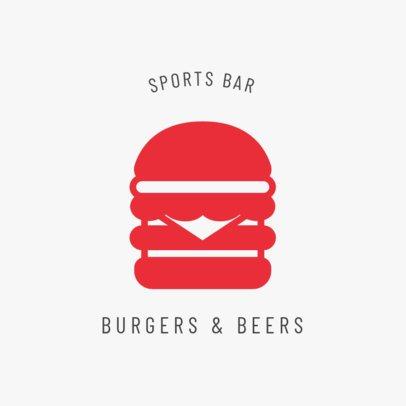 Sports Bar Logo Maker with a Hamburger Icon 1684a