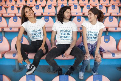 Mockup of Friends Wearing T-Shirts in a Stadium 25234