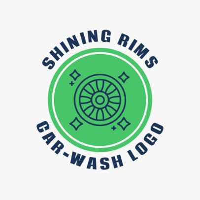 Car Wash Logo Design Template with a Tyre Icon 1754c