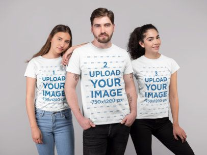 T-Shirt Mockup of a Group of Three Friends at a Studio 25693