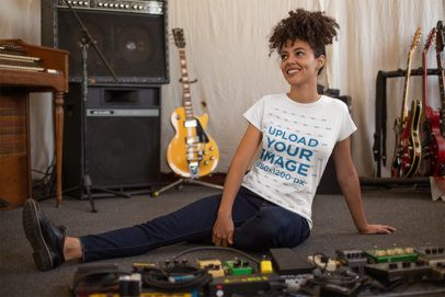 Round Neck Tee Mockup of a Smiling Girl in a Music Studio 24284