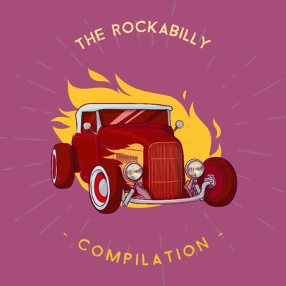 Album Cover Maker for a Rockabilly Compilation Album 478b