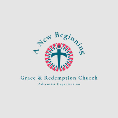 Church Logo Generator with Curved Text over Icon 1768