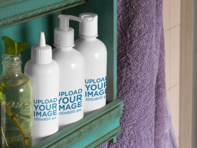 Label Mockup Featuring a Set of Cosmetic Bottles on a Bathroom Shelf  a6864