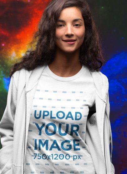 T-Shirt Mockup of a Girl Against an Outer Space Background 18594