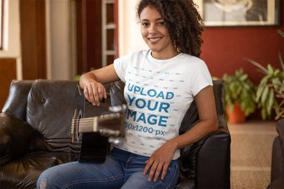T-Shirt Mockup of a Woman Playing the Guitar at Home 24289