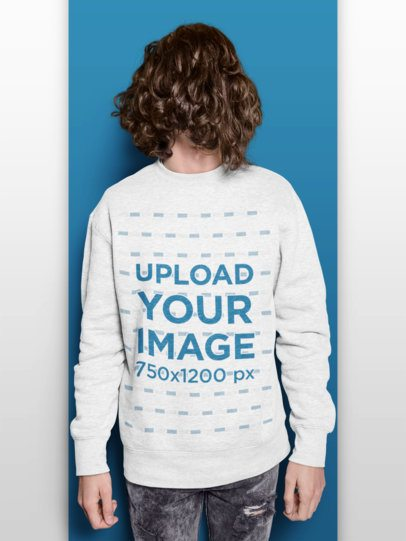 Sweatshirt Mockup of a Long Haired Man with His Hair over His Face 18533