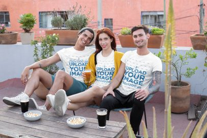 Round Neck Tee Mockup of a Group of Three Friends Drinking Beer on a Terrace 25259