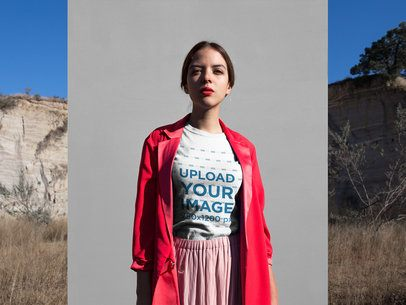 T-Shirt Mockup of an Elegant Woman Wearing a Fashionable Outfit 18541