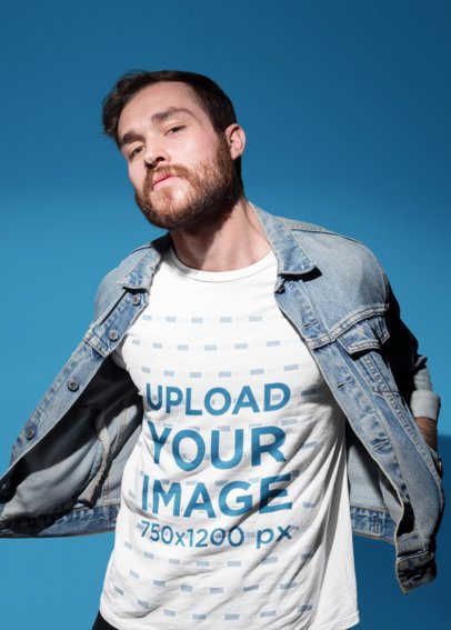 Mockup of a Man in a Denim Jacket Showing His Tee 18694