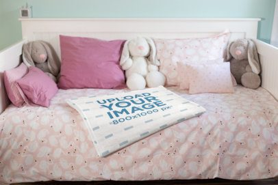 Mockup of a Soft Throw Blanket on a Children's Bed 24684