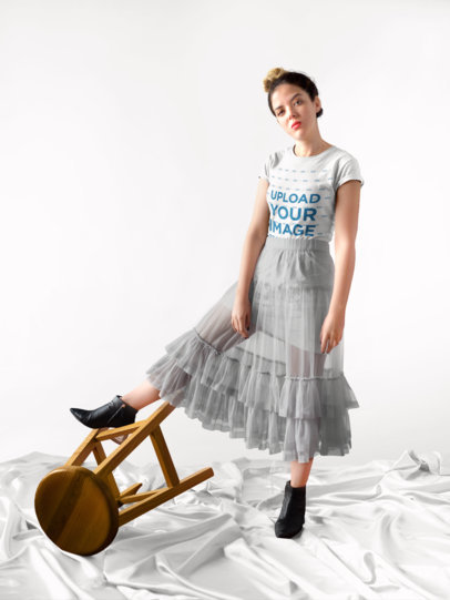T-Shirt Mockup of a Girl in an Elegant Setting 18488