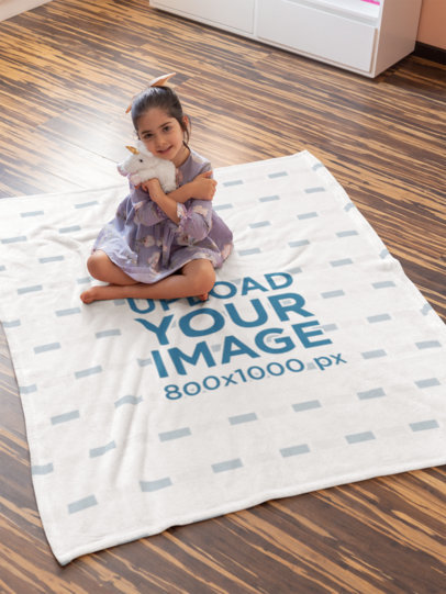 Throw Blanket Mockup Featuring a Little Girl Hugging a Plushie 24692