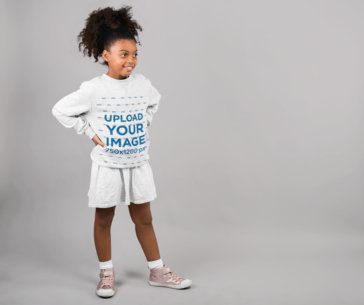 Heather Sweatshirt Mockup of a Little Girl Standing in a Studio 24857