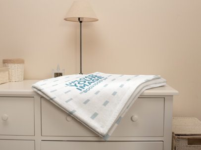 Mockup of a Throw Blanket over a Nightstand 24695