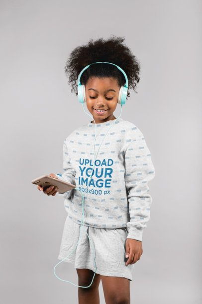 Sweatshirt Mockup of a Happy Girl Listening to Music 24855