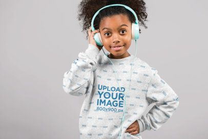 Sublimated Sweatshirt Mockup of a Little Girl with Headphones at a Studio 24854
