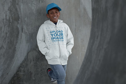 Mockup of a Kid Wearing a Heathered Full-Zip Hoodie in a Tunnel 24943