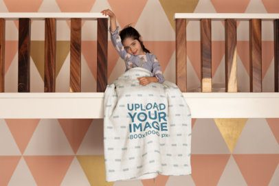 Mockup of a Blanket Featuring a Little Girl in a Girly Room 24690