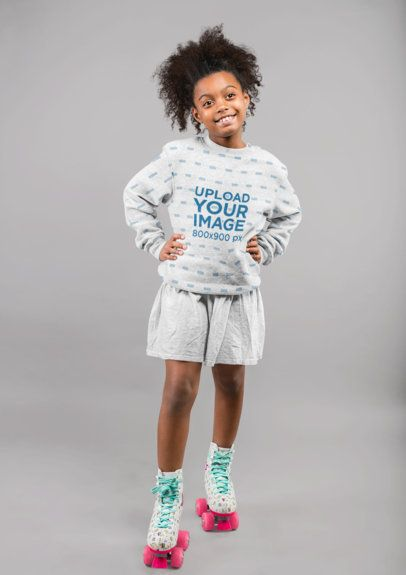 Sublimated Sweatshirt Mockup Featuring a Girl in Roller Skates 24853
