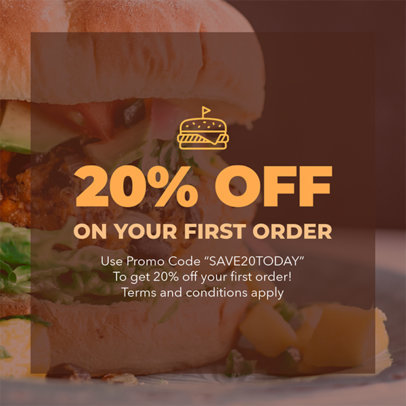Online Coupon Template for a Restaurant Promo 1016