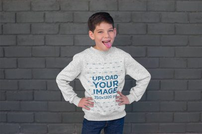 Sweatshirt Mockup of a Boy Making a Funny Face 24845
