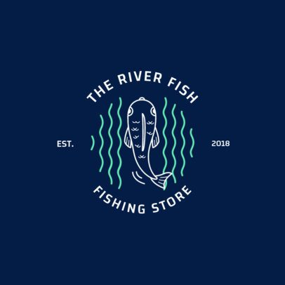 Fishing Store Logo Template with Fish Clipart 1793c