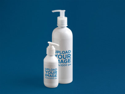 Label Mockup of a Set of Soap Bottles Over a Flat Backdrop a6674