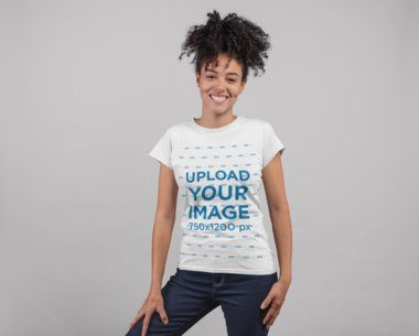 Tee Mockup Featuring a Smiling Girl with a Kinky Ponytail 24271