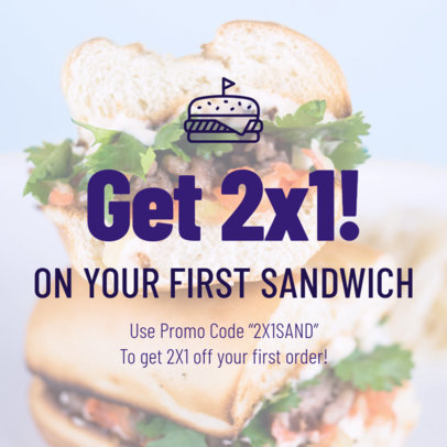 BOGO Coupon Design Template for a Sandwich Promo 1016e